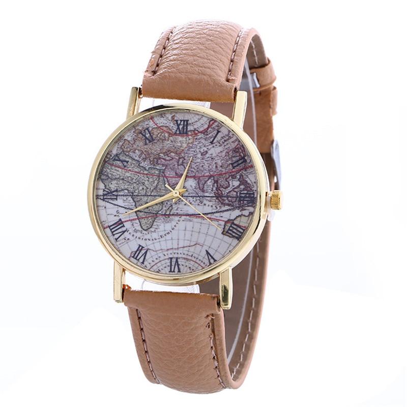 Casual Women Dress Watches Fashion Map Pattern Fashion Women Colored PU Leather Watch Women Watch Clock 7Colors Reloj Mujer