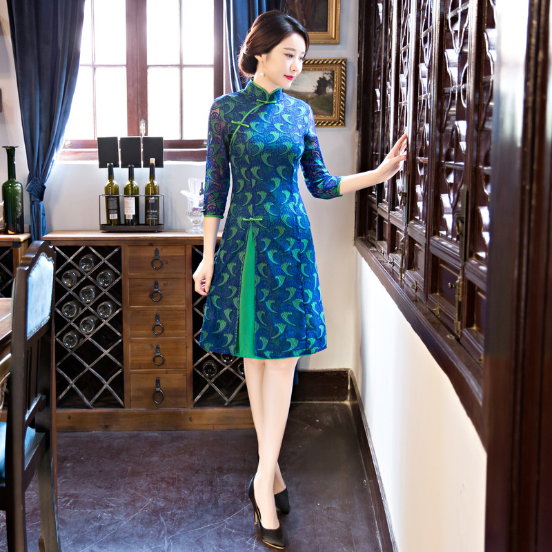 Lady Fashion Short Women Cheongsam Dress Chinese Ladies Elegant Qipao Novelty Sexy Dress Size M L XL XXL 3XL F102602 lady xxl