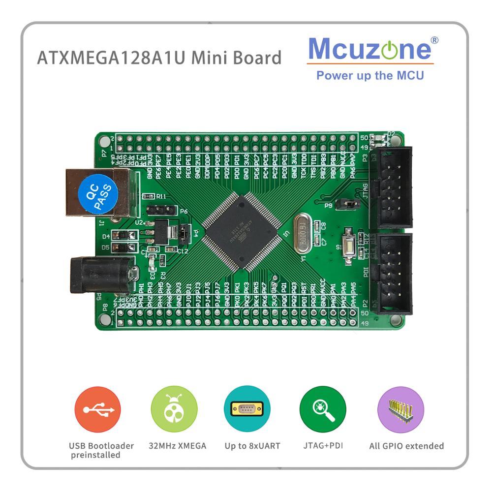 ATxmega128A1U Mini Board, 12Bit ADC DAC, 8UART, USB  Device, JTAG PDI, USB Bootloader Preloaded XMEGA128A1 U 128A1U AVR Atmel