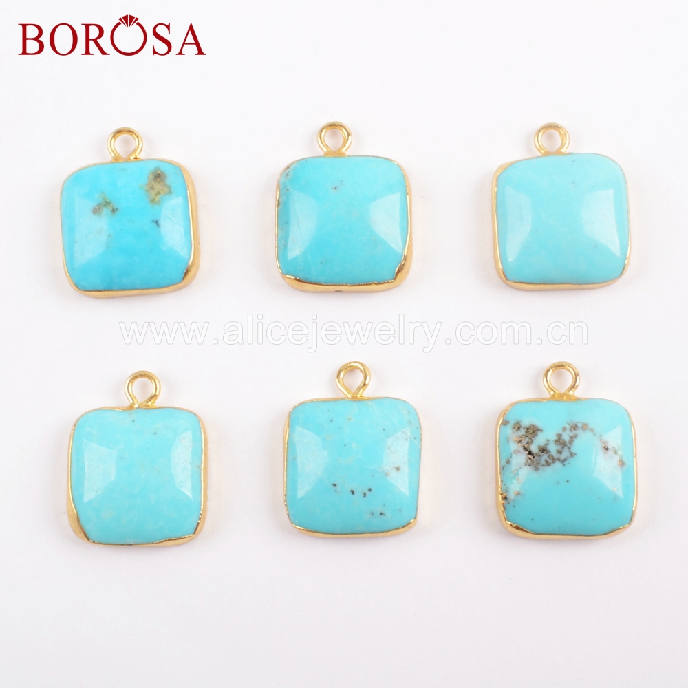 BOROSA 100 Natural Blue Stone Pendant Beads Druzy Charm Gold Color Natural Turquoises Stone Square Curved