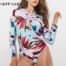 HAPPYSHARK New Professional Athletic Swimsuit Women One Piece Swimwear  Printed sleeve Female Bathing Suit