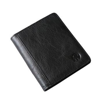 Genuine Leather Wallet Fashion Short Bifold Men Wallet Casual Soild Men Wallets With Coin Pocket Purses Male Wallets #B30 wallet