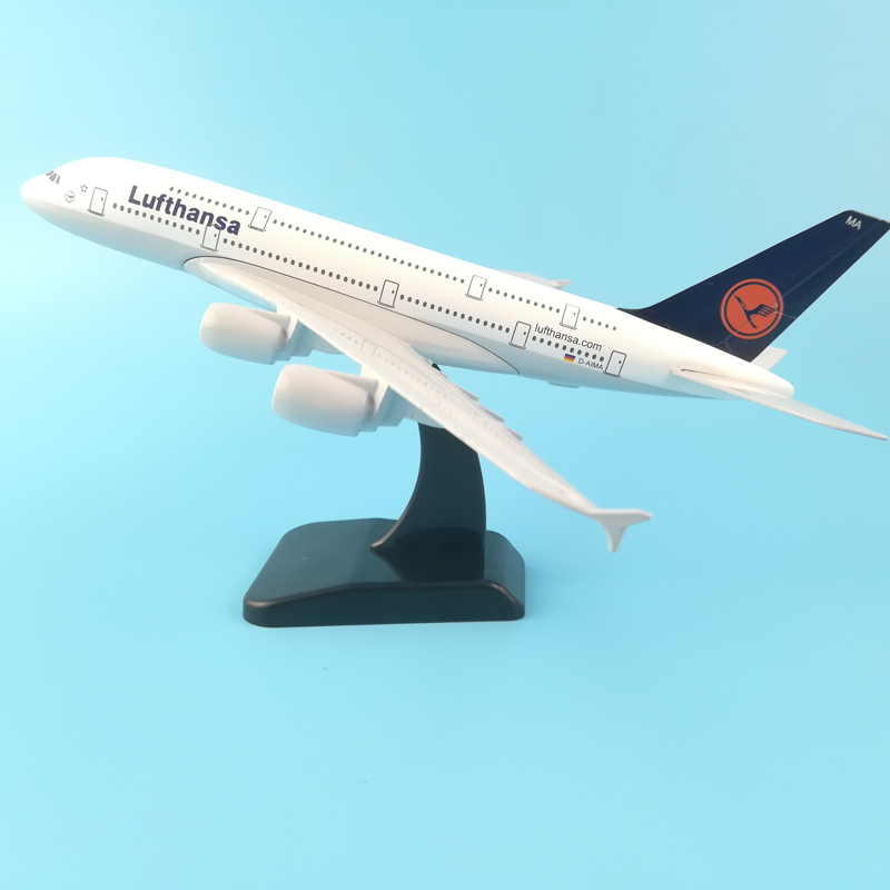 20CM AIR PASSENGER PLANE A380 LUFTHANSA METAL ALLOY MODEL PLANE AIRCRAFT MODEL TOY AIRPLANE COLLECTION DESK TOY BIRTHDAY GIFT image