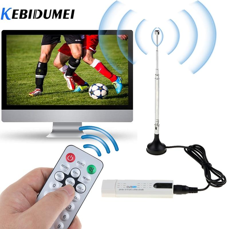 kebidumei Digital DVB T2 TV Stick Tuner with Antenna Remote Control USB2 0 HDTV Receiver for DVB-T2   DVB-C   FM   DAB For PC