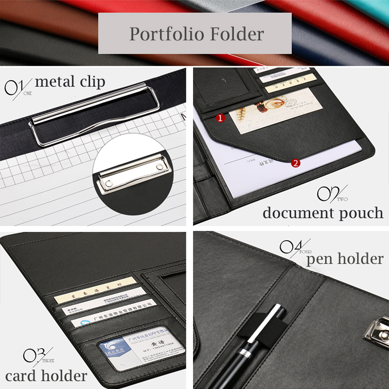 A4 Leather Multi function Portfolio File Folder Interview Resume ...