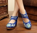 Pointed Old Beijing Flower Embroidered Women Shoes Mary Jane Flat Heel Denim Chinese Style Casual Cloth Plus Size Shoes Woman