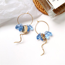 Latest AA glass earrings personality metal geometry creative aesthetic temperament of wave shape earring