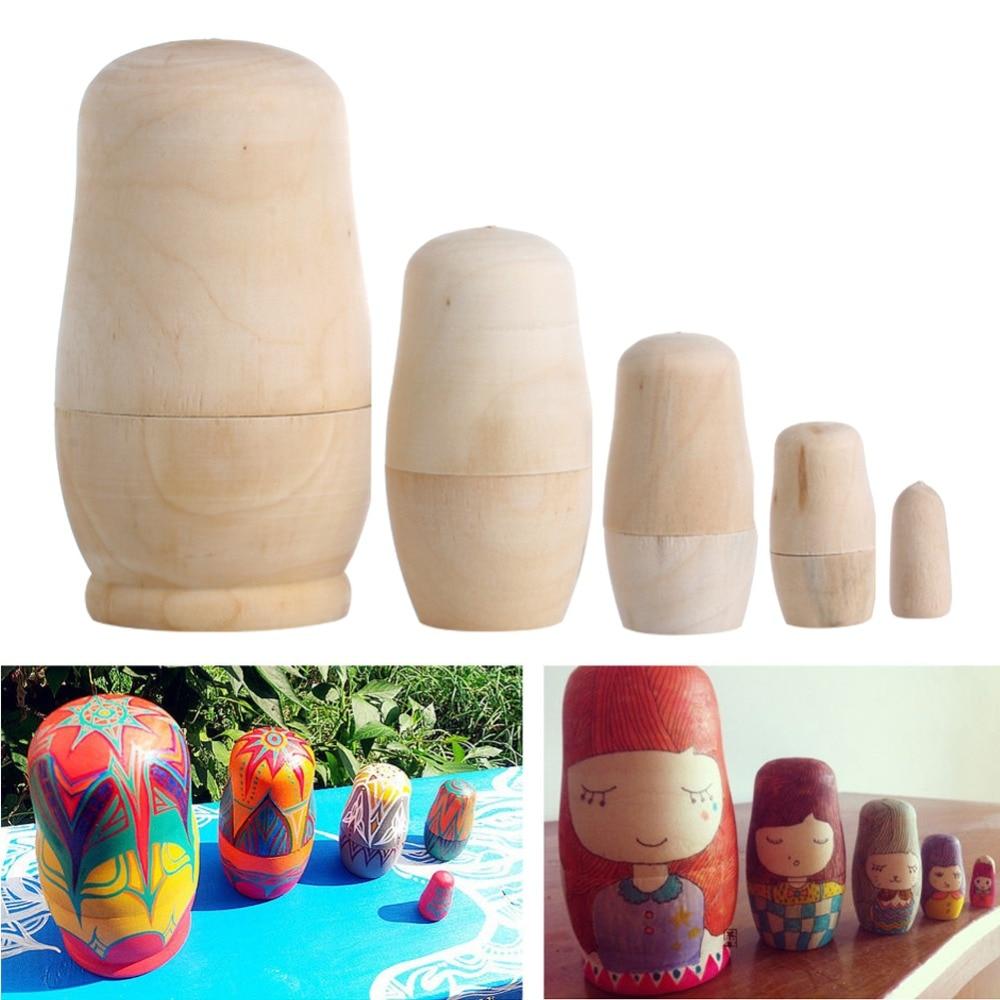 New 5Pcs/set Unpainted DIY Wood Matryoshka Toy Blank Russian Nesting Dolls Holiday Gift