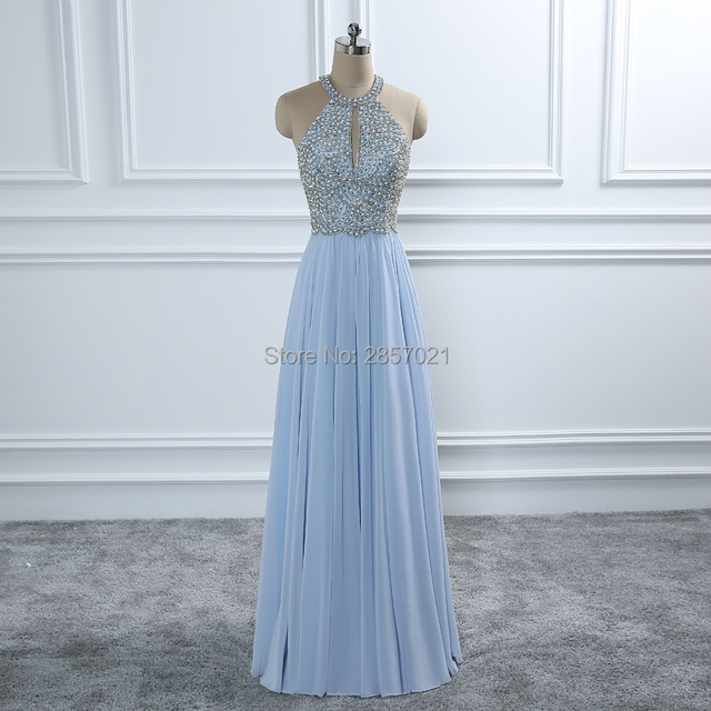e5951b5fb7c0 Elegant Light Sky Blue A Line Long Chiffon Prom Dresses Halter Neck  Backless Sexy Bead Rhinestones Pearls Formal Evening Gowns