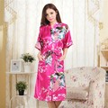 2016 winter hot sale pink chinese women silk robe gown sexy nightgown lose casual home dress kimono flower kimono gown