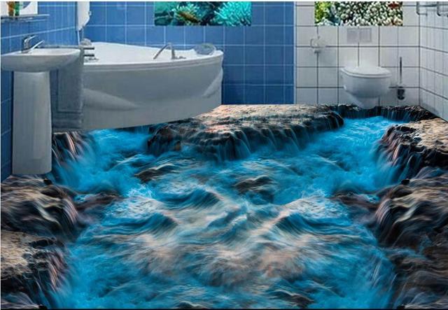 Vinyl Flooring Photo Wallpaper Custom 3d Flooring Blue
