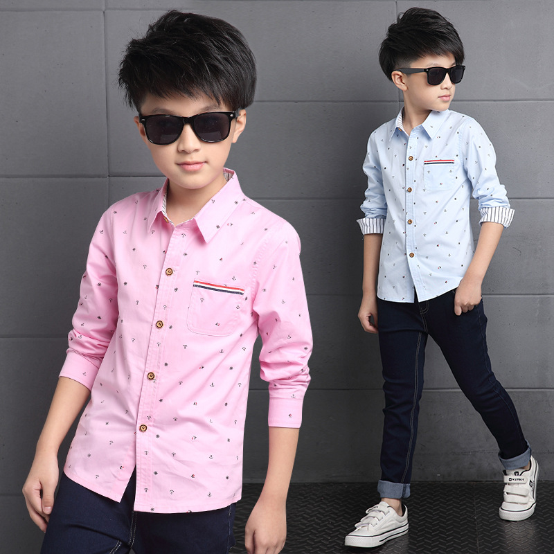 Boys Shirts Long Sleeve Floral Children Clothing Cotton Striped Tops School Kids Clothes