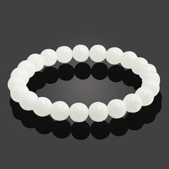 Classic Black Natural Stone Bracelet Men Charms Blue White Transparent Beaded Bracelets Women Yoga Buddha Chain Bangles Jewelry 4