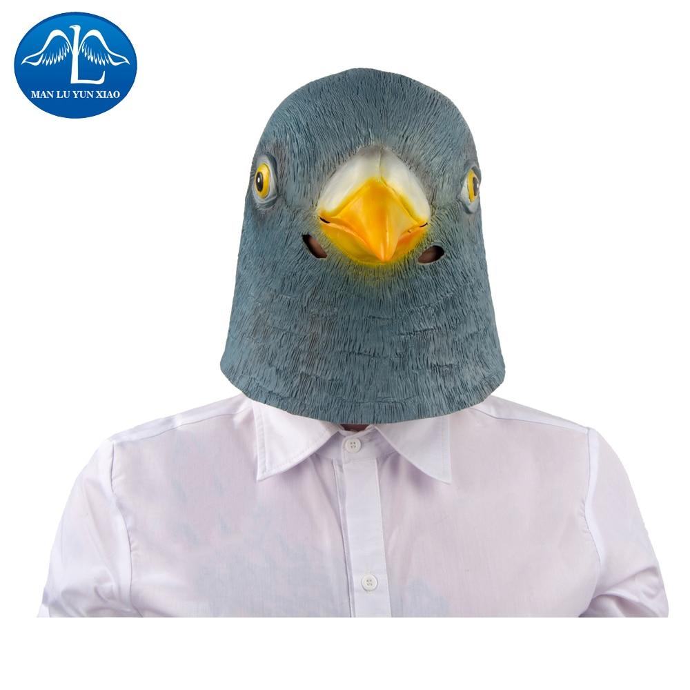 MANLUYUNXIAO Pigeon Mask Latex Giant Bird Head Halloween Cosplay Costume Full Face Mask Woman Man Children Mask
