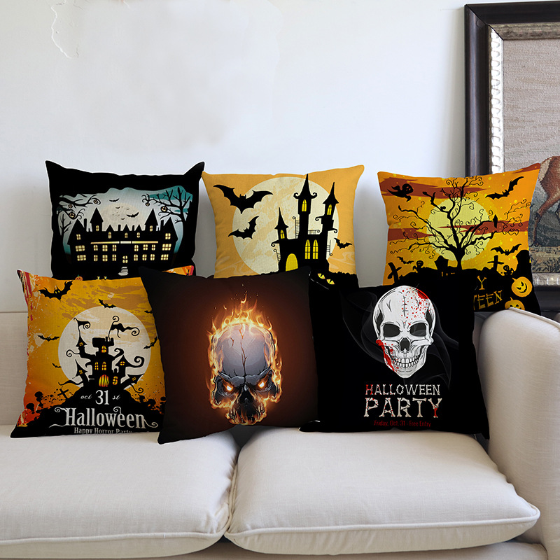 2018 New Halloween Throw Pillow Decoration Art Black Cat Castle Bat Witch Pumpkin Scary face Print Sofa Decorative Cushion Cover