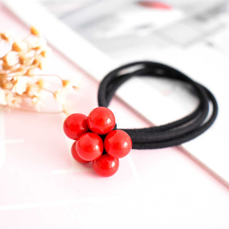 Hot 1/2/5PCS Red Beads Knot Three-in-one Girls Elastic Hair Band Women Hair Rope Fashion Rubber Band Hair Accessories