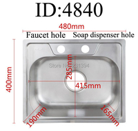 480 400 190mm 304 Stainless Steel Drawing Kitchen Sink Single Bowl Whit Soap Dispenser Faucet Mounting
