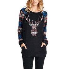 woman hoodies sweatshirts ladies Christmas long sleeve  deer printed autumn winter 2019 clothing sweat shirts