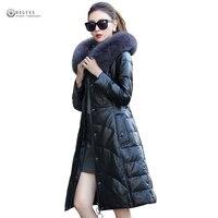 2018 Новый дубленка Для женщин зима большой Лисий мех натуральный Кожаные куртки Плюс Размеры вниз верхняя одежда из натуральной кожи пальто