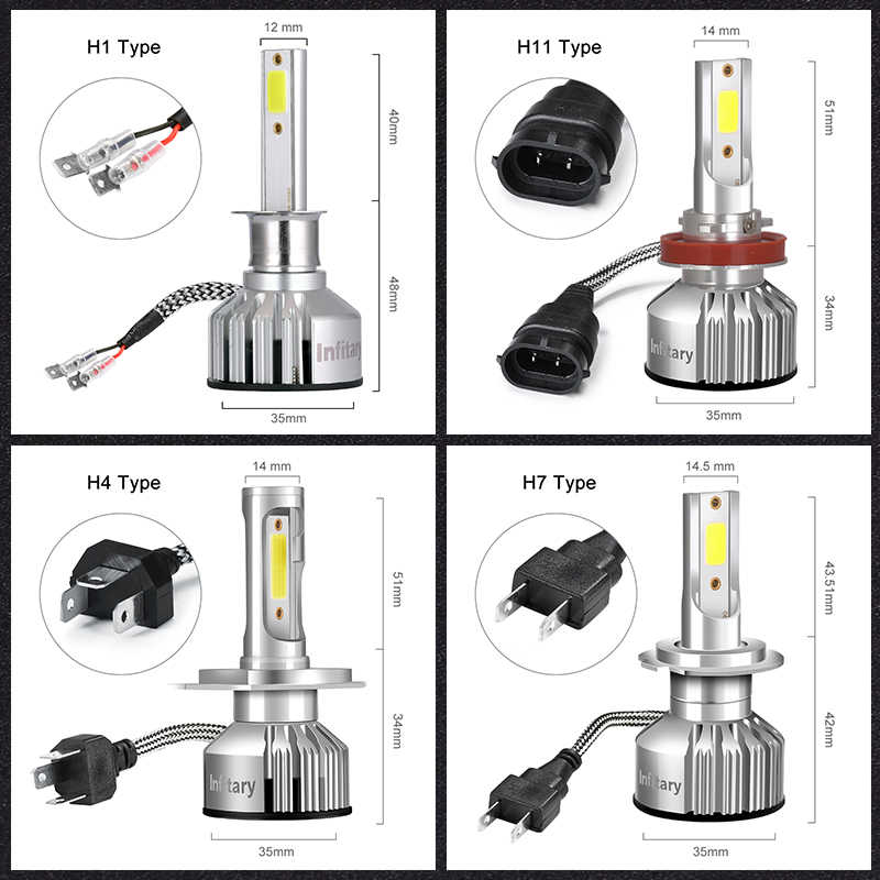 INFITARY 2 Pcs Car Headlight H4 LED H7 LED H1 H3 H11 H13 HB3 HB4 9004 9005 9006 9007 72W 10000LM 3000K 4500K 6500K Auto Light