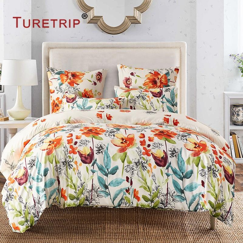 Turetrip Flower Duvet Cover Set Floral Boho Hotel Bedding Sets Comforter Cover With Soft Lightweight Microfiber Quilt Cover