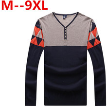 9XL 8XL 6XL Sweater Man 100% Pure Cashmere Knitted Winter Warm Pullovers V-neck Long Sleeve Standard Male Jumper Korean version