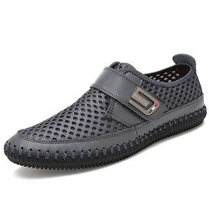 Image 3 - MAISMODA 2018 夏通気性メッシュの靴メンズカジュアルシューズ本革スリップブランドファッション夏の靴ビッグサイズ YL268