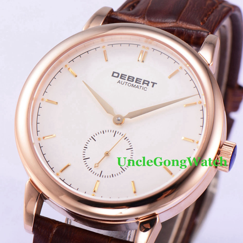 Debert 40mm White Dial sapphire glass Rosegold Polished Case Brown Leather Strap Mechanical men Watch цена и фото
