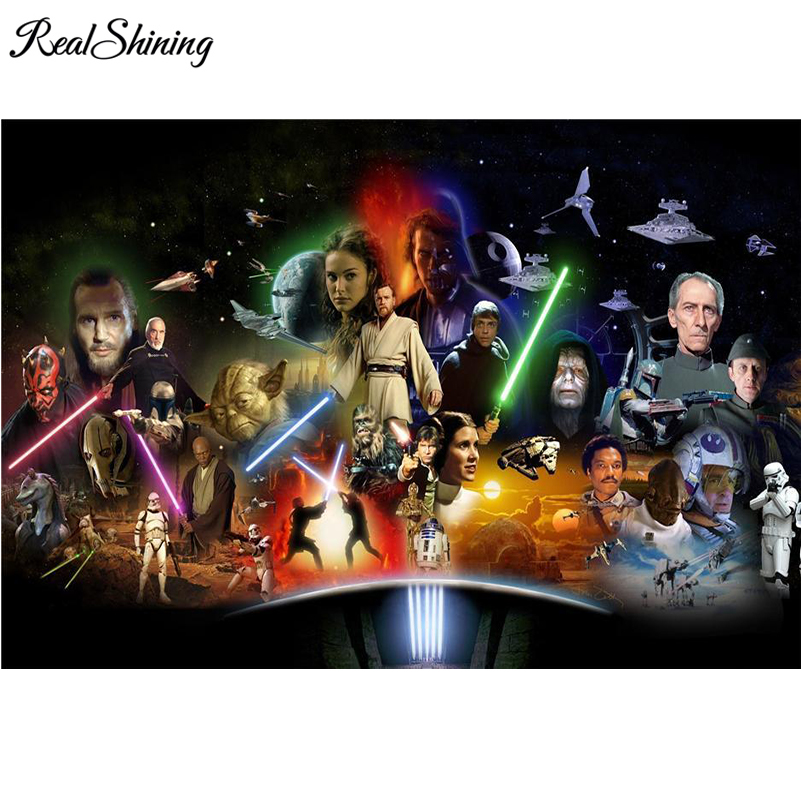 REALSHINING Star Wars Characters Full Square Diamond Painting Cross Stitch,5D DIY Diamond Embroidery Mosaic Accessory FS1991