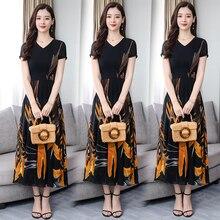 Plus Size Yellow Chiffon Dress Short Sleeve Long Maxi Party Night Dresses Women Print Floral Summer 2019 Slim Bodycon Clothing
