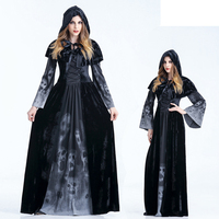 2017 Long Fancy Dress Halloween Party Witch Role Playing Female Ghost Vampire Scary Cloak Evil Stage