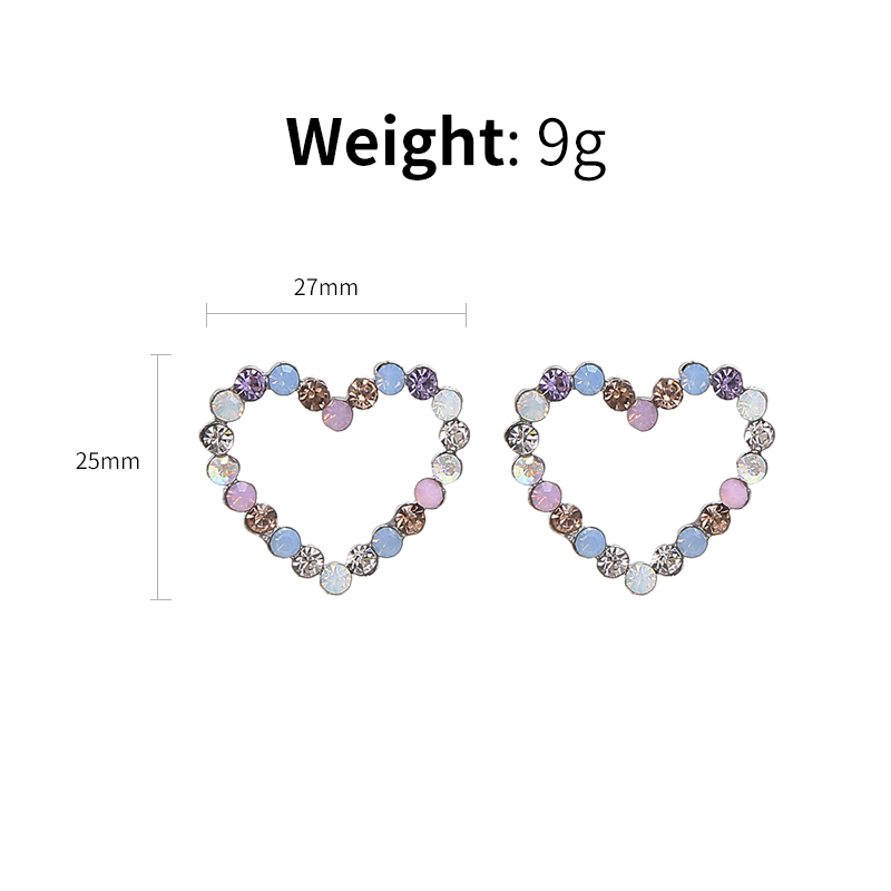 New Korean Hollow Multicolor Rhinestone Star Love Heart Stud Earrings 84464b17b7e6