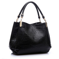 Luxury Women Crocodile Handbags High Quality Double Zipper Leather Embossed Tablet Sac A Main Alligator Designer