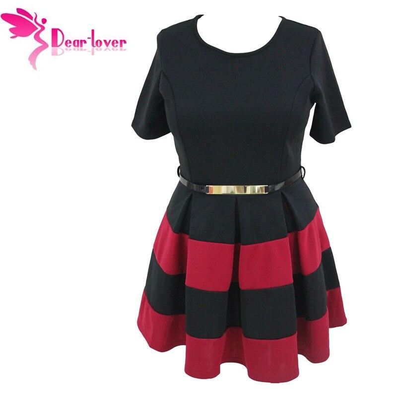 95f639058 Dear-Lover Women Work Wear Short Sleeve A Line Burgundy Stripes Detail  Belted Plus Size Skater Dress Vestido LC22806 cheap price