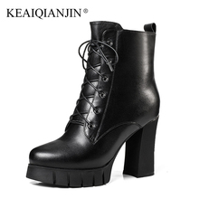 KEAIQIANJIN Woman Wool Gothic Shoes High Heels Winter Shearling Chelsea Boots Black Genuine Leather Wool Snow Martins Botas 2018