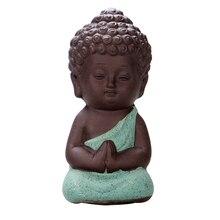1Pcs Ceramic Buddhism Litle Meditation Monk Small Statues Miniature Craft Buddha Statues Clay Mini Buddhism Zen