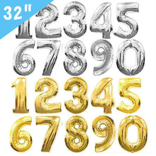 32inch Number Foil Balloons Rose Gold Silver Black Figure Balloon Baby Shower Decoration Wedding Birthday Party Ballon Globos