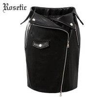 Rosetic Gothic Sheath Skirts PU Black Spring Sexy Club Zipper Pocket Fashion Women Party Slim Cool Wild Punk Goth Bodycon Skirts