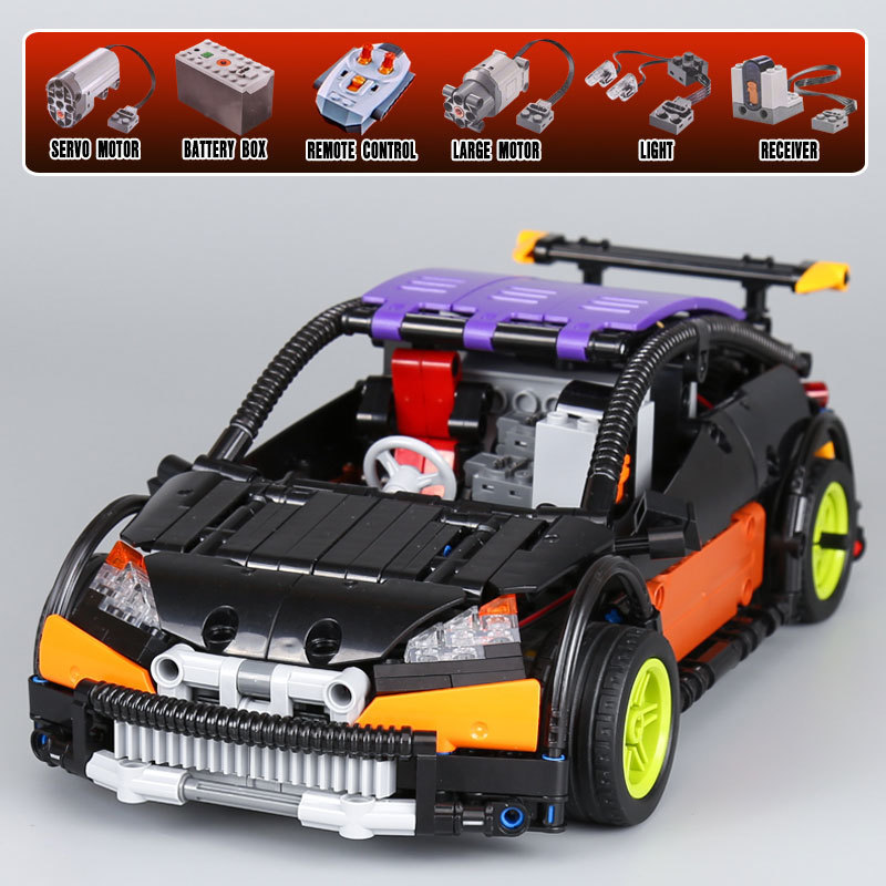 lepin 20053 Black/Blue lepin Technic Series Hatchback Type RC Car legoing technic MOC-6604 Building Block Brick Toy in stock lepin 20028 1281pcs technic series super car assembly toy car model diy brick building block toy gift for boy gift 8070