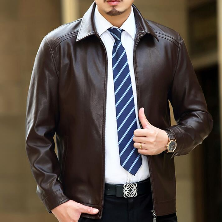 HOT New Men Natural Sheepskin Leather Jacket Autumn And Winter Brand Men's Genuine Leather Jackets Thickening Lapel Leather Coat