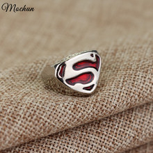 MQCHUN DC Comics Superman Symbol Rings Fashion High Quality Silver Plated Rings Red Enamel Rings For Men Women