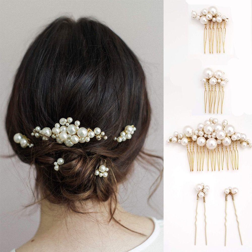 1 Pc Bride Bridesmaid Hair Accessories Retro Pearl Hair Pin Clip Luxury Crystal Rhinestone Wedding Hair Comb Sticks For Women