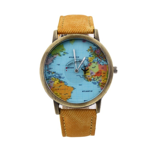 Global Travel By Plane Map Men Watche