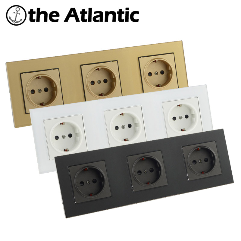 Atlantic EU/DE/RU Triple 3 Socket Crystal Glass Wall Plug Socket Tempered Crystal Glass Panel 110-250V Wall Power Socket atlantic switch tempered glass phone tv socket model luxury crystal glass panel weak current socket telephone television outlet