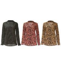 Женские Весна плюс размеры с длинным рукавом нагрудные шифоновая блузка с воротником Кнопка подпушка Boho Винтаж Leopard офисы рубашка Асимметр