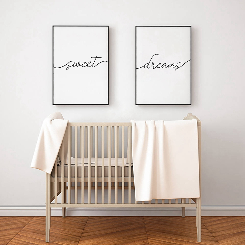 Sweet Dreams Print Typography Poster Bedroom Decor Modern Black And White Minimalist Canvas Painting Bedroom Prints Unframed Painting Calligraphy Aliexpress