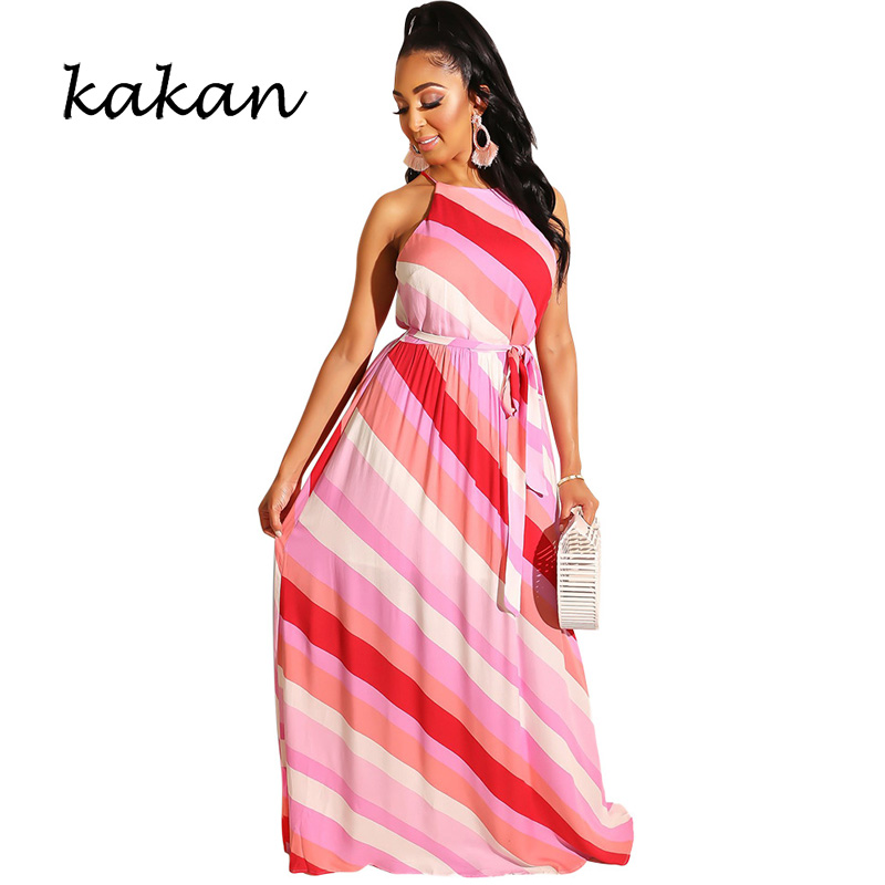 Kakan Fashion casual multicolor dress 2019 summer new best womens print long