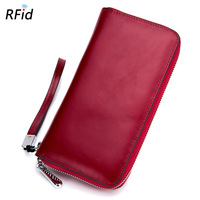 Brand New Large Capacity Leather Wallets Women Men Hand Bags Zipper Organ Cards Holder RFID Wallet Long Purse Money Pouch