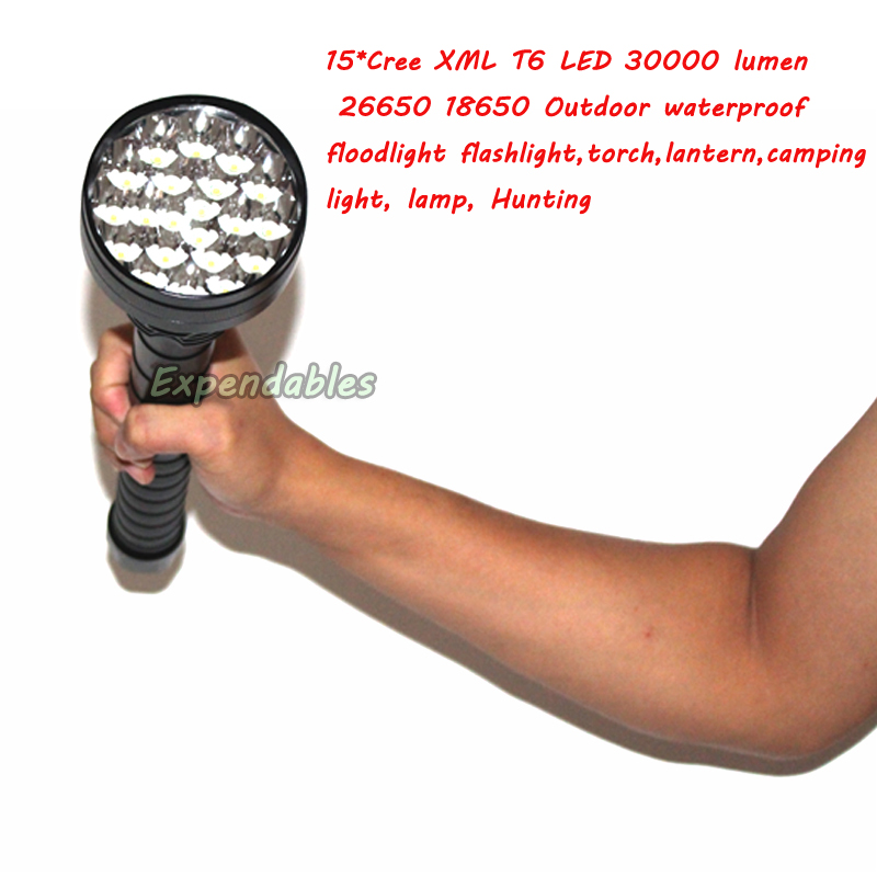 15* XML T6 LED 30000 lumen 26650 18650 Outdoor waterproof floodlight flashlight,torch,lantern,camping light, lamp, Hunting 24 xml t6 led flashlight 30000 lumen 18650 26650 exploration torch light tactical lantern self defense camping light lamp