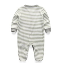 2Pcs Gray Cotton Footed Romper Set